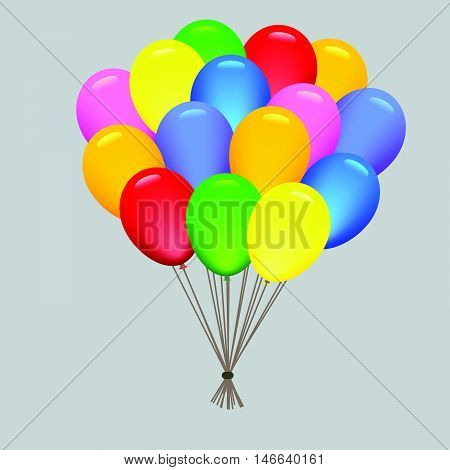 air balloons a brightly colored rubber sac inflated with air vector illustration