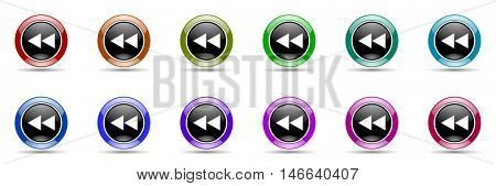 rewind round glossy colorful web icon set
