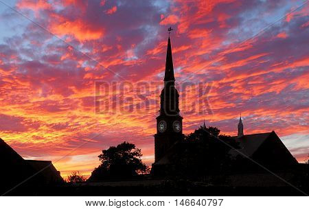 Scottish evening sky. Forfar, Scotland August 23, 2016 Dreamlike colors of the evening sky over the Scottish town of Forfar.