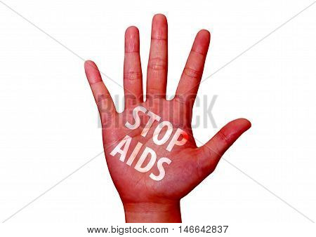 isolated stop virus aids written on woman hand