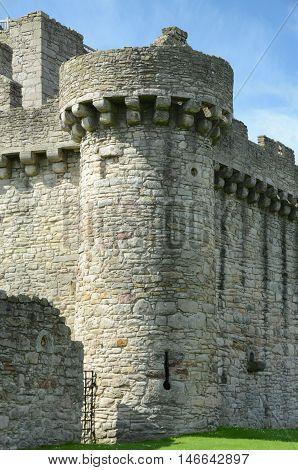 A round corner turret at Craigmillar castle