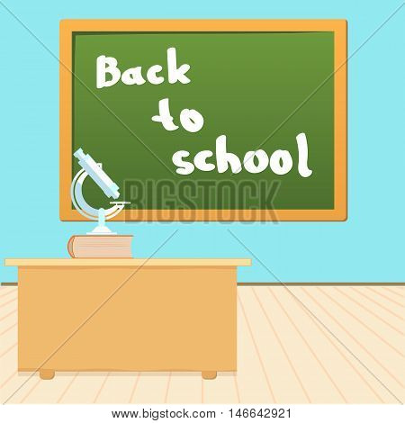 inscription in chalk on the blackboard back to school vector illustration