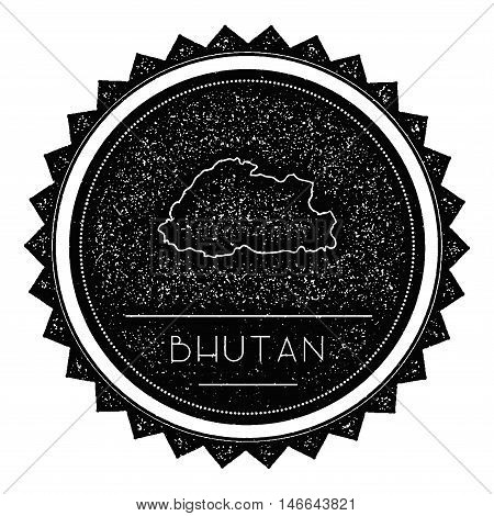 Bhutan Map Label With Retro Vintage Styled Design. Hipster Grungy Bhutan Map Insignia Vector Illustr