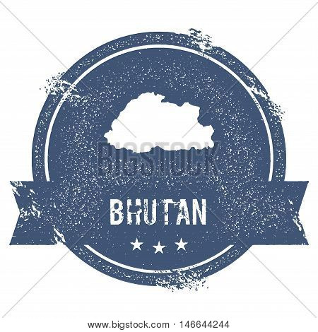 Bhutan Mark. Travel Rubber Stamp With The Name And Map Of Bhutan, Vector Illustration. Can Be Used A