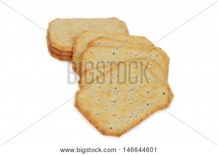 closeup multi grain crackers on a white background