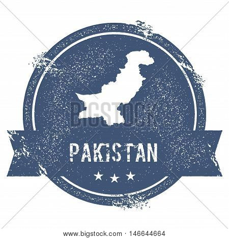 Pakistan Mark. Travel Rubber Stamp With The Name And Map Of Pakistan, Vector Illustration. Can Be Us