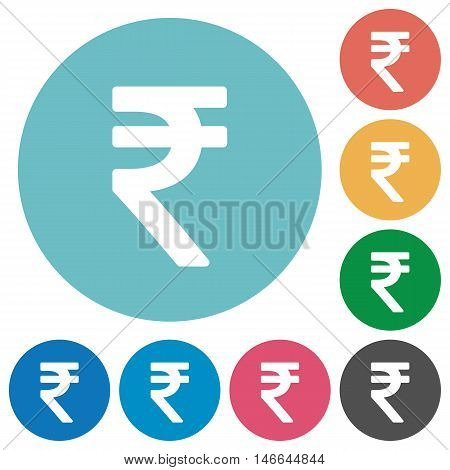 Flat Indian Rupee sign icon set on round color background.