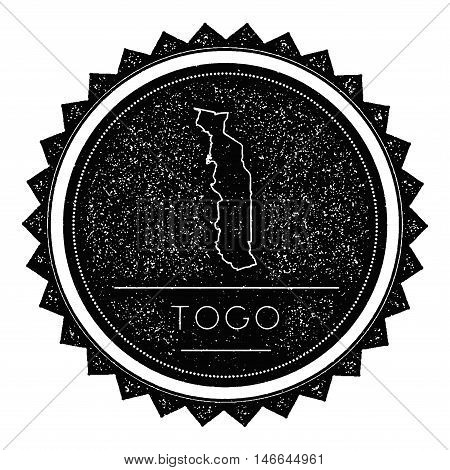 Togo Map Label With Retro Vintage Styled Design. Hipster Grungy Togo Map Insignia Vector Illustratio