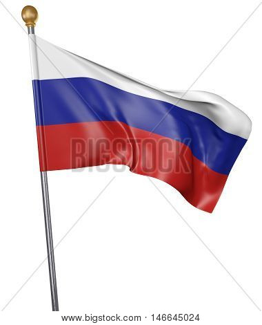 National flag for country of Russia isolated on white background, 3D rendering