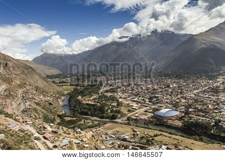 Sacred Valley Harvested Wheat Field In Urubamba Valley In Peru, Andes, On The Road From Cuzco To Aba