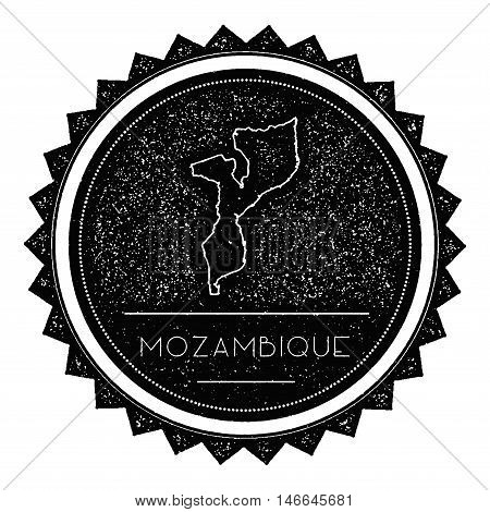 Mozambique Map Label With Retro Vintage Styled Design. Hipster Grungy Mozambique Map Insignia Vector