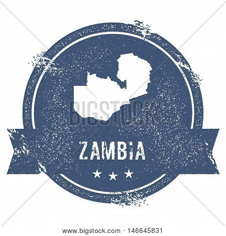Zambia Mark. Travel Rubber Stamp With The Name And Map Of Zambia, Vector Illustration. Can Be Used A