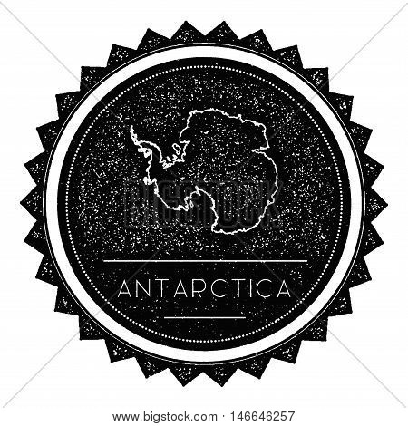 Antarctica Map Label With Retro Vintage Styled Design. Hipster Grungy Antarctica Map Insignia Vector