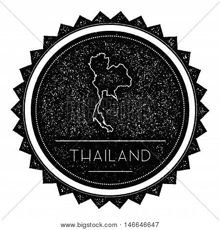 Thailand Map Label With Retro Vintage Styled Design. Hipster Grungy Thailand Map Insignia Vector Ill