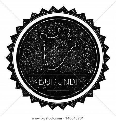 Burundi Map Label With Retro Vintage Styled Design. Hipster Grungy Burundi Map Insignia Vector Illus