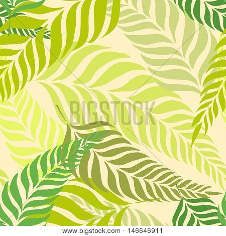 Seamless tropical pattern with fern leaves, palm fronds. Bright vector summer time background for use in design, web site, packaging, textiles, wallpaper, paper.