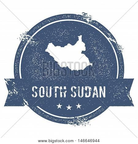 South Sudan Mark. Travel Rubber Stamp With The Name And Map Of South Sudan, Vector Illustration. Can