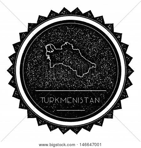 Turkmenistan Map Label With Retro Vintage Styled Design. Hipster Grungy Turkmenistan Map Insignia Ve
