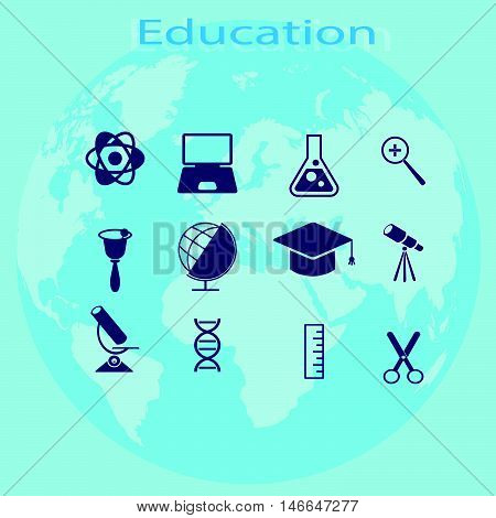 set of elements the process of education vector illustration