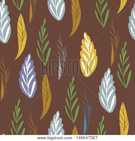 Vector pattern in autumn colors. Seamless pattern with abstract autumn leaves can be used for pattern fills, wallpapers, web page backgrounds and print design.