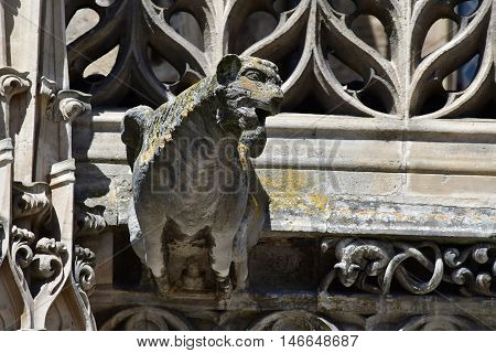 Poissy France - august 6 2016 : the historical collegiate church where the king Saint Louis was baptised
