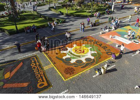 Arequipa, Peru - May 06, 2016: Corpus Christi On Plaza De Armas Square In Arequipa, Peru