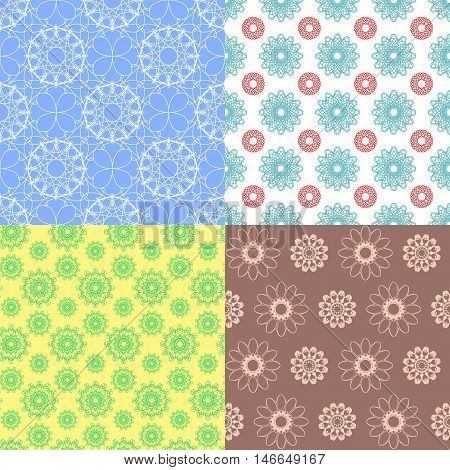 Geometric spirograph seamless patterns. Delicate design backgrounds. Seamless texture with floral elements. Vector background for use in design, web site, packaging, textiles, wallpaper, paper