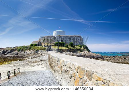 Fort grey, built in 1804 to defend the west coast of Guernsey.