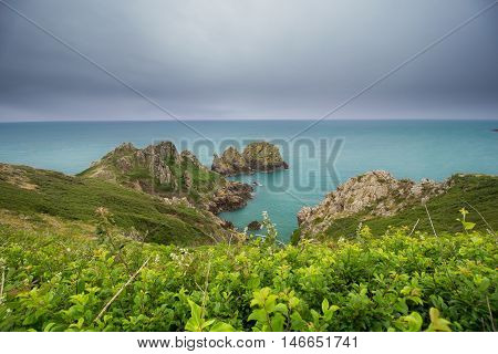 Coastal landscape, Island of Guernsey, Channel Islands, UK
