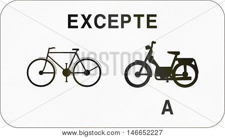 Additional Road Sign Used In Belgium - Except Bicycles And Mopeds Class A