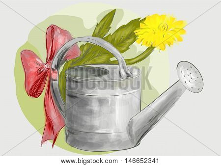 watering can. old watering can on abstract background