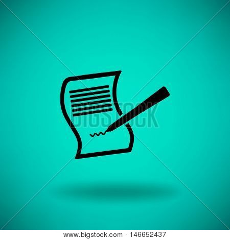 Paper and pen. Flat vector icon