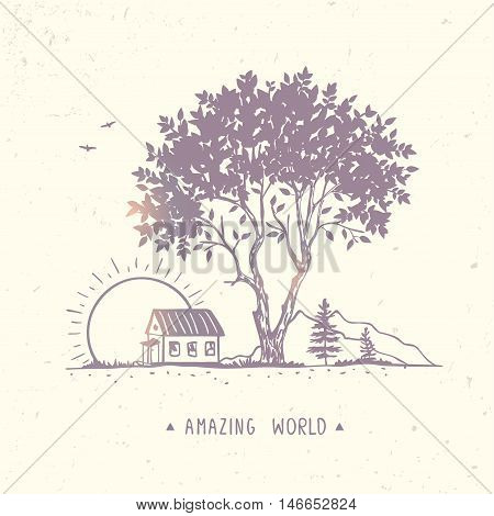 Beautiful and amazing tree and house. Stylish vector illustration