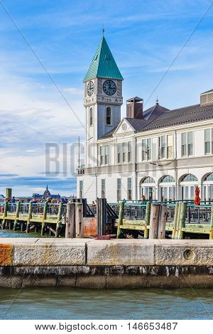 The famous Pier A Harbor House in Battery Park. Manhattan New York, USA.