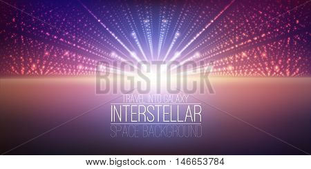Vector interstellar space background.Cosmic galaxy illustration.Background with nebula, stardust and bright shining stars.Vector Illustration for party , artwork, brochures.