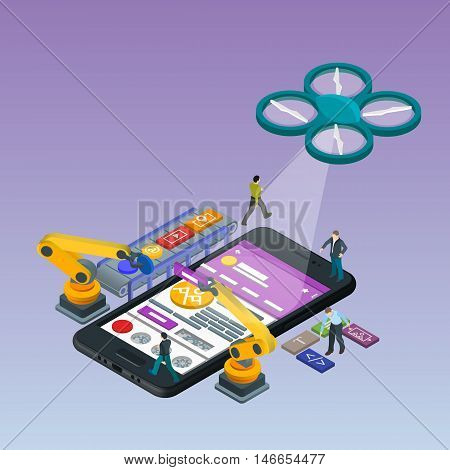 Mobile App Development, Experienced Team. Flat 3d isometric black phone. Management and Project Management. Manipulator robot robotized. Work on the online store.