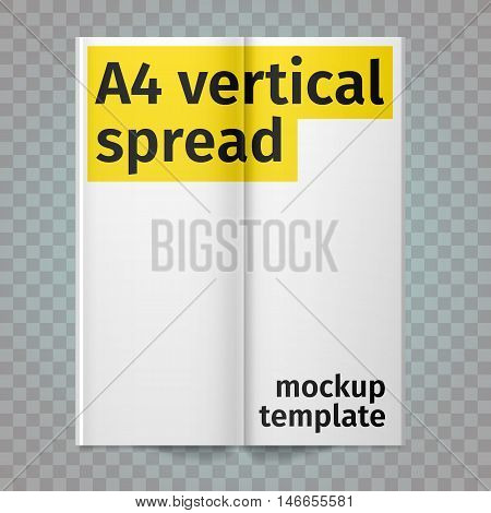 Vertical A4 flyer spread with white pages. Vector blank А4 spread. Isolated white paper. A4 brochure open. Template leaflet spread.