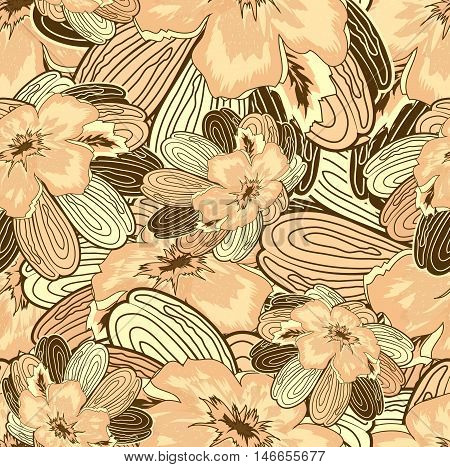 Seamless Floral Ornamental Pattern Abstract Brown With Flowers And Leaves