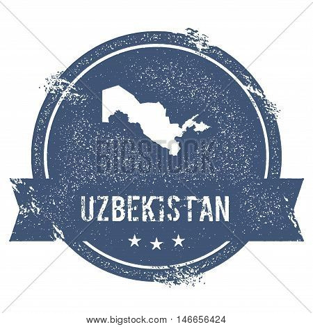 Uzbekistan Mark. Travel Rubber Stamp With The Name And Map Of Uzbekistan, Vector Illustration. Can B