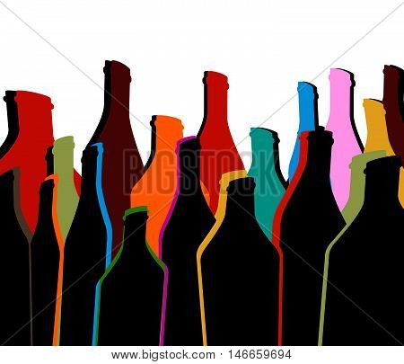 Background Bottle Ilustration.Alcoholic Bar Menu.Design for Party.Template for Menu Card.Wine List Placard.Suitable for Poster.Card Cocktail Invation.Bottle of Wine Vector.