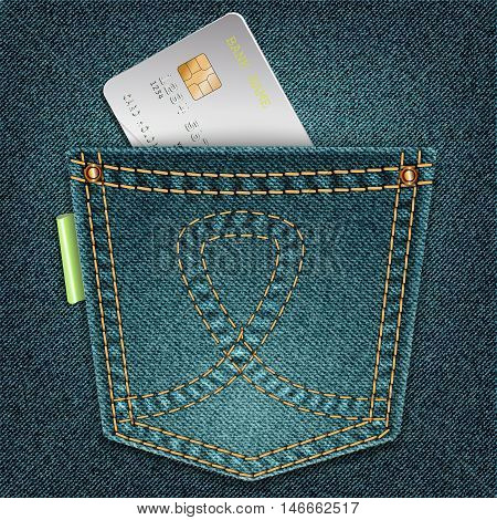 Denim Pocket With Credit Card On A Gray Background.