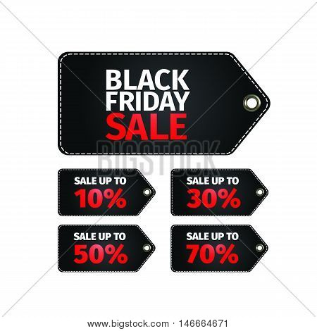 Black Friday sale tag. Easy editable eps 10 vector. No open shapes or paths . Clothes, furnishings, cars, food sale . Black friday design, sale, discount, advertising, marketing price tag.