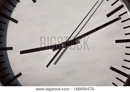 Evening or morning time on a clock dial. Life time running