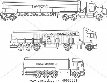 Detailed illustration of cistern trucks carrying chemical, radioactive, toxic, hazardous substances isolated on white background in a flat style.
