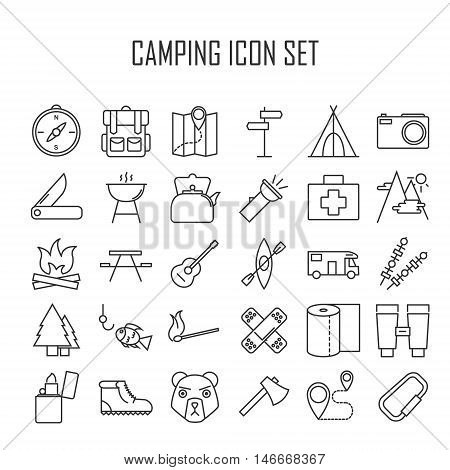 Camping icons. Outdoor equipment. Swiss knife, axe, hiking boots, map, compass and other things for camping. Line art vector illustration.