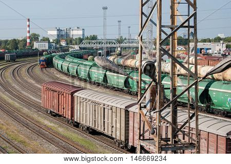 Kaliningrad, Russia, 9th of september 2016, railway yard, trains of freight wagons in marshalling yard, railway lines and freight trains. Russian Railways.