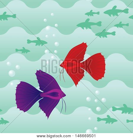 Seamless pattern with wave and fish in water