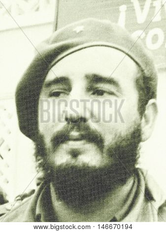 Yangiyer Uzbekistan - May 11 1963: Portrait of Fidel Castro.