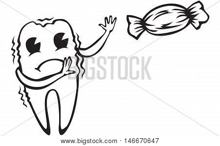 Cartoon candy tooth saw frightened and trembling