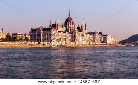 Hungarian Parliament Building Budapest upstream view from Danube River Hungary